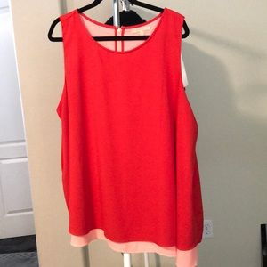 Red/Peach Chiffon Tank